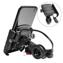 Motorcycle Handlebar Cell Phone Mount Holder with 18W USB Ch