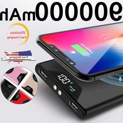 NEW 900000mAh Qi Wireless Power Bank 2 USBFast Charging Batt
