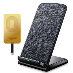 QI Fast Wireless Charger - Leather Cordless CellPhone Rapid