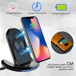 Qi Fast Wireless Charger Stand Charging+Cas For Apple iPhone