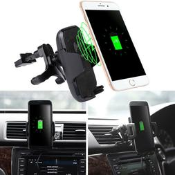 Qi Wireless Car Charger 360° Mount Cell Phone Holder Dock F