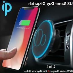 Qi Wireless Car Charger Magnetic Mount Holder For iPhone XS