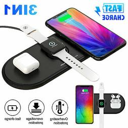 QI Wireless Charger 3 in 1 Fast Charging Dock Station Pad Fo