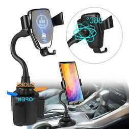 Qi Wireless Charger Adjustable Car Cup Fast Charging Dock Ph