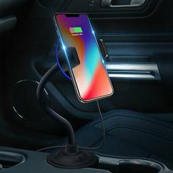 Qi Wireless Charger Car Cup Charging Phone Mount Holder For