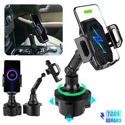 Qi Wireless Charger Car Cup Phone Mount Holder Fast Charging