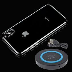 Qi Wireless Charger Charging Pad+Hard Clear Case For Apple i