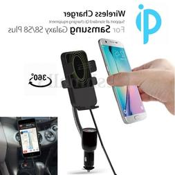 QI Wireless Charger Dual USB Car Holder Cigarette Lighter Mo