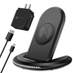 Qi Wireless Charger Fast Charging Pad Stand Dock With QC3.0