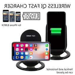 Qi Wireless Charger Fast Charging Stand Pad For iPhone 8/8P/