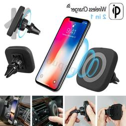 Qi Wireless Charger Magnetic Fast Charging Pad Car Air Vent
