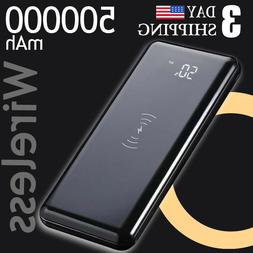 Qi Wireless Charging Power Bank 500000mAh Battery Pack Ultra