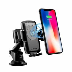 MPOW Qi Wireless Fast Charger Car Mount Phone Holder Dock US