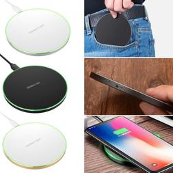 QI Wireless Fast Charger Charging Pad Mat Metal For iPhone X