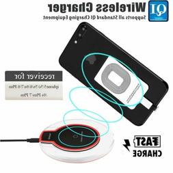 Qi Wireless Fast Charger Dock Charging Pad+Receiver for i.Ph