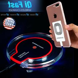 Qi Wireless Fast Charger Dock Charging Pad+Receiver for iPho