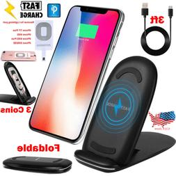 Qi Wireless Fast Charger Stand Fr Samsung Galaxy S8 S9 Plus