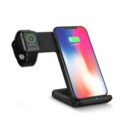 Qi Wireless Charger Fast Charging Station Stand Dock 2in1 Fo