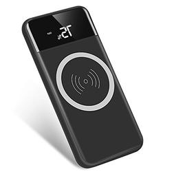 Qi Wireless Portable Charger, Hokonui 10000mAh Charging Powe