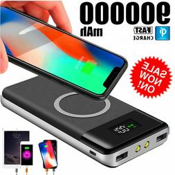 Qi Wireless Power Bank 900000mAh Backup Fast Portable Charge