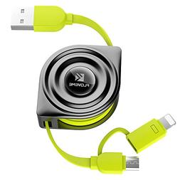 Retractable Lightning Cable, FLOVEME 2 in 1 Extension 3.3ft