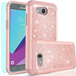 LeYi PC Silicone Glitter Case with Tempered Glass Screen Pro