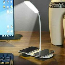 Smart LED Home Office Table Wireless Charger Lamp with Two W