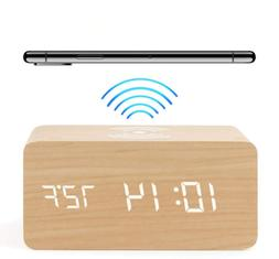SmartClock: 6 in 1 | Wireless Charger | Wood Tone Clock | FR