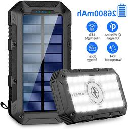 Solar Charger 26800mAh,GRDE Wireless Portable Solar Power Ba