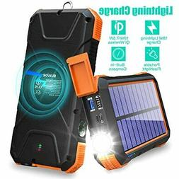BLAVOR Solar Charger Power Bank 18W,QC 3.0 Portable Wireless