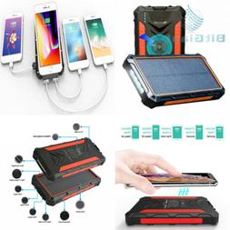 Solar Power Bank, Qi Wireless Portable Charger 20,000mAh Ext