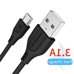 Super Fast Micro USB Cable Android Charger 4FT,SOMOSTEL 3.1A