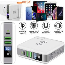 Travel Portable LCD Qi Wireless Fast Charger Power Bank For
