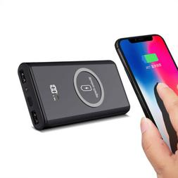 Qi Wireless 20000mah Power Bank 2 USB Battery Charger For iP