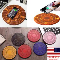 US Glowing Magic Array Qi Wireless Fast Charger 5W 10W for i