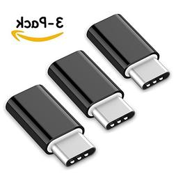 USB Type C Adapter 3 Pack, Arukas Data Syncing and Charging