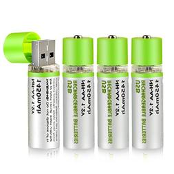 Enegitech USB Rechargeable AA Batteries with Charger NI-MH 1