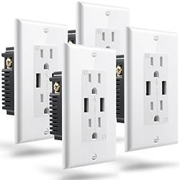 Fosmon Wall Outlet with USB Ports , High Speed 4.2A Dual USB