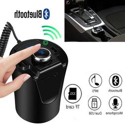 Wireless Bluetooth4.2 Car FM Transmitter USB Charger Cup Rad