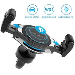 Wireless Car Charger, OCUBE Upgraded Roller Buckle Air Vent