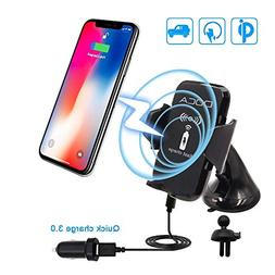Wireless Car Charger, DOCA Fast Qi Wireless Charging Car Mou