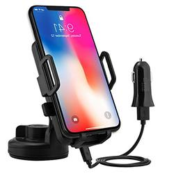 Wireless Car Charger, PTUNA UPDATED Air Vent Car Mount and Q