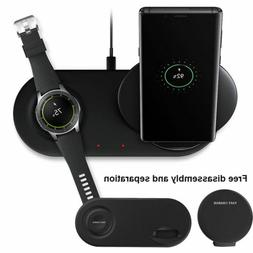 Wireless Charger Duo Fast Charge Stand & Pad For Samsung Gal