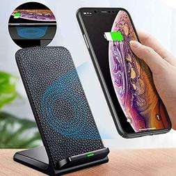 Wireless Charging Stand Leather User Friendly Cordless Cell