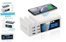 Wireless Charging Station for Multiple Devices, 48W 6 USB Po
