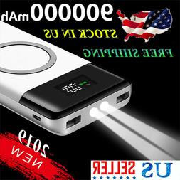 Wireless External Battery 500000mAh Power Bank 2 USB Charger