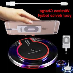 Qi Wireless Fast Charger Dock Charging Pad + Receiver For iP