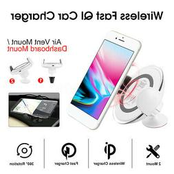 Wireless Fast QI Car Charger Two Mount Phone Stand For iPhon