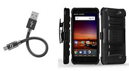 ZTE ZFive G LTE Z557BL - Bundle: Dual Layer Rugged Kickstand